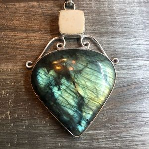 Large bright labradorite crystal pendant necklace